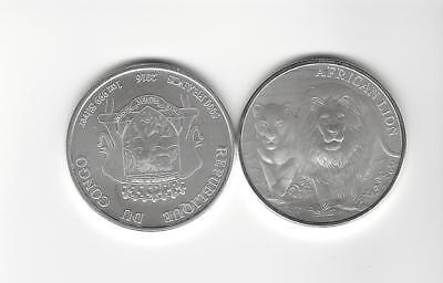 5000 Francs Kongo 2016 -Löwe /Lion - 1 Oz Unze Silber 999 - in Kapsel - rar