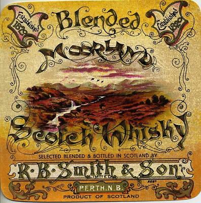 Original Whisky Label - Moorland Scotch Whisky R B Smith Of Perth