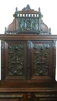 Antique Large French Carved Oak Cabinet, Bronze Panels, 91″ H Circa 1890. PA1776