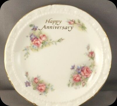 "Royal Albert Moss Rose Happy Anniversary 4 3/4"" pin dish plate"
