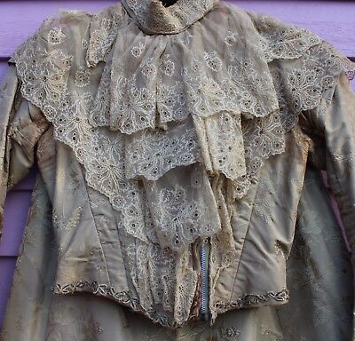 Antique 19th Century Victorian Ladies Damask Satin & Lace Suit Jacket & Skirt