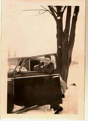 Antique Vintage Photograph Man Leaning on Car Door in the Snow 1943