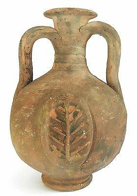 Biblical Ancient Antique Clay Pottery Jug Wine Flask w Wheat & Grain Symbol R