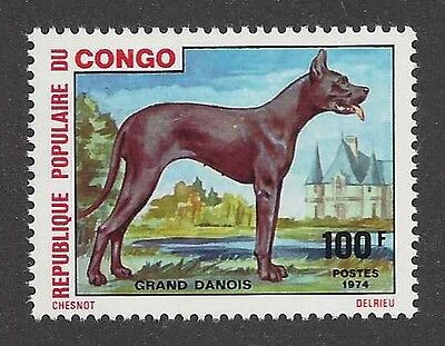 Dog Art Body Portrait Postage Stamp BLACK BLUE GREAT DANE Congo Africa 1974 MNH