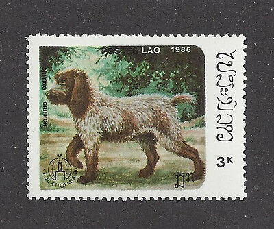 Dog Art Postage Stamp GERMAN WIREHAIRED POINTER POINTING GRIFFON Laos 1986 MNH