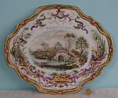 19thC French Lille Faience Hand Painted Wall Plaque Village Scene Porcelain