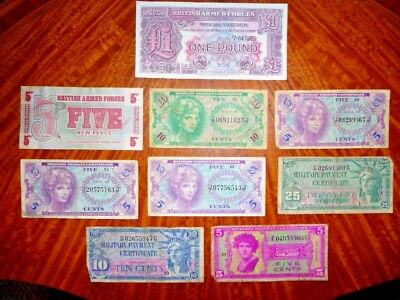 Lot of 9 Military Payment Certificates US/ England Very Good to Extremely Fine