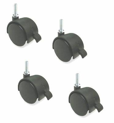 """Pack of 4 Swivel 50mm Furniture Casters with 3/8"""" x 1"""" Tall Threaded with Brake"""
