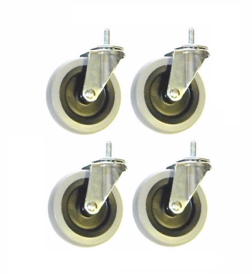 """(Pack of 4) Stem Casters with 4"""" Gray Non-Marking Wheels with 3/8"""" x 1"""" Stem"""