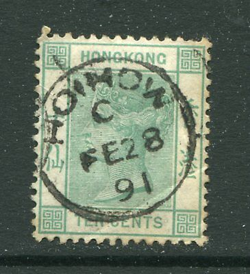 1884 China Hong Kong GB QV 10c stamp Used with 1891 Hoihow CDS Pmk