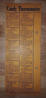Vintage 1935 L. F. Chaney Candy Thermometer Store Display Card w/ Recipes