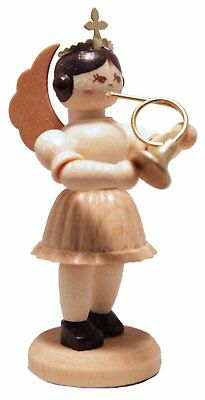 French Horn Player Concert Angel German Wood Figurine Handcrafted in Germany