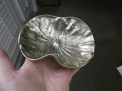 Nice 1948 Vintage 1 Lb-9 Oz *virginia Metalcrafters* Solid Brass Lotus Leaf Dish