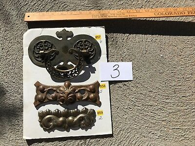 Lot 3  Old Antique Vintage Hardware Brass Store Stock Handles Steampunk Projects