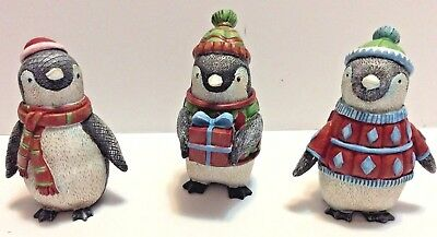 Ganz Set Of 3 Penguin Holiday Winter Figures Statues New!!