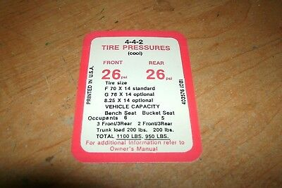 Vehicle Parts & Accessories 1969 OLDSMOBILE 442 4-4-2 TIRE PRESSURE SPECIFICATIONS DECAL STICKER NEW