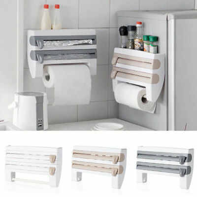 4-in-1 Kitchen Organizer Roll Holder Foil Film Towel Wall Mounted Rack Dispenser
