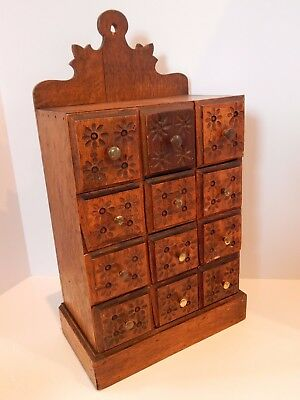 Antique Oak Apothecary Spice Cabinet 12 Drawers Hand Carved Table Top Chest