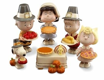 Lenox PEANUTS 6pc Thanksgiving Figurine Set SNOOPY Charlie Brown NEW IN BOX!