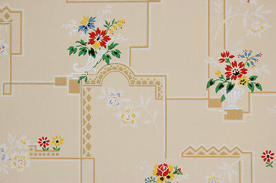 1930's Antique Vintage Wallpaper Red Yellow Blue Flowers on Tiles