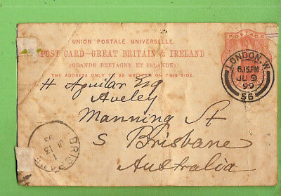 #d292.  1899 Letter Card  From London To Brisbane, Aguilar