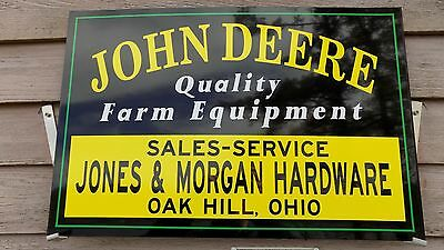 """New!! Early Style Personalized John Deere Dealer/agent Sign/ad 16""""x24"""" Alum."""