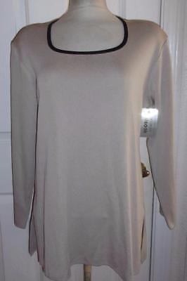 "NEW Exclusively MISOOK Long Sleeve TOP - Sand/Black - 46""B / L - NEW NWT"