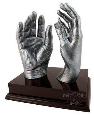 Adult Hands 3D Cast Casting Kit Brown Plinth Wedding Anniversary Valentines Gift