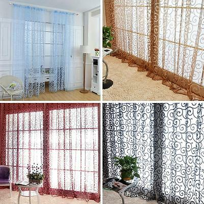 Floral Flocking Double S Shaped Tulle Curtain Sheer Window Curtain HF #K