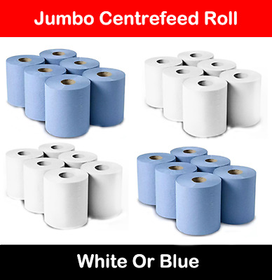 6/12/18/24/48 Blue Or White Rolls 2Ply Centrefeed Paper Wipe Hand Towel Tissue