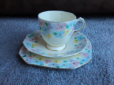 Art Deco Plant Tuscan China Floral teacup, saucer and plate Reg No 780986 1930's