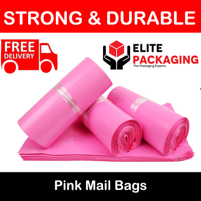 200 LARGE PINK BAGS OF 12x16 INCH STRONG POLY MAILING POSTAGE 60MU SELF SEAL XL