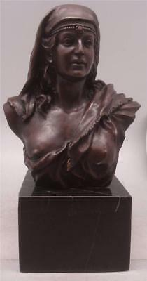 Bronze Orientalist Lady Bust - 35cm High - Solid Marble Base - Stunning Quality