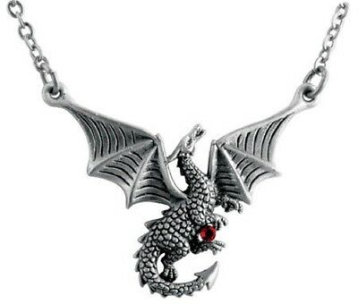 Braxus Flying Dragon with Red Gem Pewter Pendant Necklace Fantasy Jewelry New