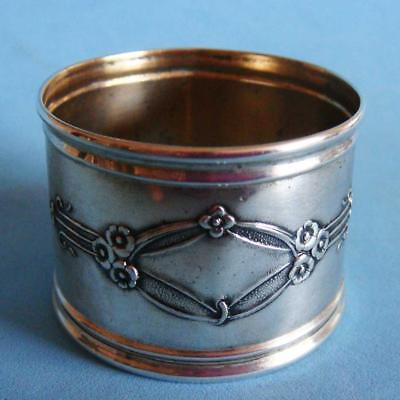 Amazing Art Nouveau Antique Sterling SILVER Nature Flowers Daisies Napkin Ring!
