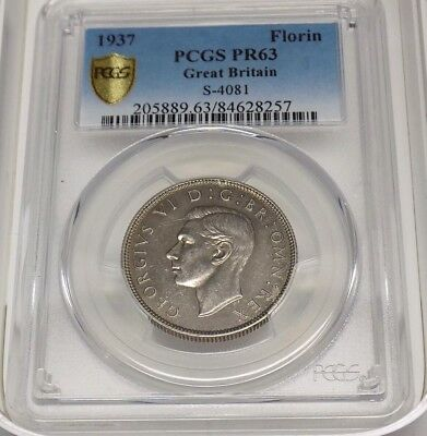1937 GREAT BRITAIN FLORIN UK Two 2 Shillings PCGS PR63 PR 63 Certified Coin