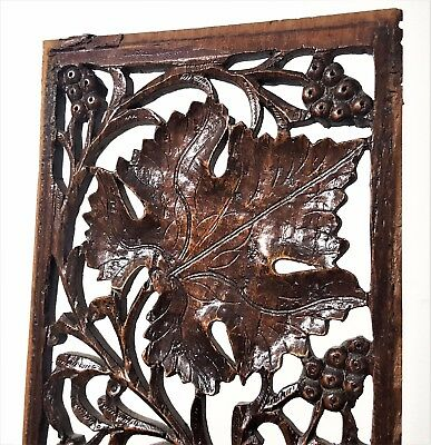 Grapes Lacework Lace Panel Antique French Hand Carved Wood Carving Sculpture 2