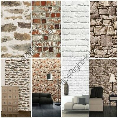 Muriva Brick Effect Wallpaper Various Colours Available Feature Wall
