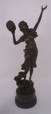 Classical Bronze Lady with Tambourine Figure - Signed 'C Desmeure' - 53cm High
