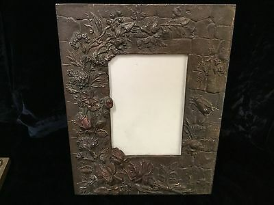 "Antique arts & crafts iron picture photo frame 3D roses bugs 10"" x 7.5"""
