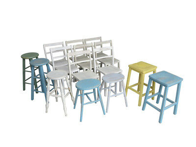 15 Available Hand Painted Church Chairs and Stools - Kitchen Dining Chapel Chair