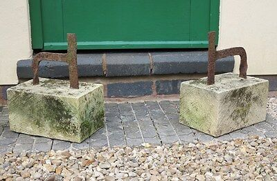 Pair of Wrought Iron Boot Scrapers on Stone Bases - Garden Ornament Shoe