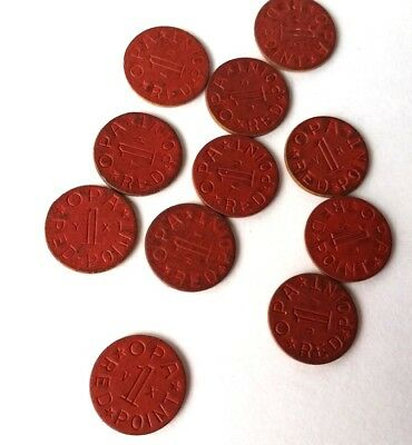 1930-40's Tokens, OPA Red Point. Eleven Total, U.S.A.