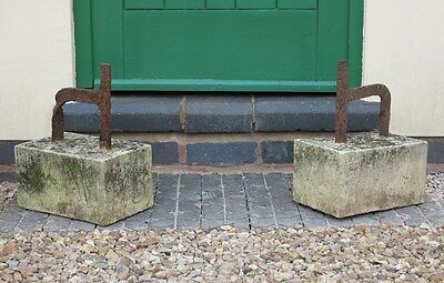 Pair of Vintage Boot Scrapers on Stone Bases - Wrought Iron Shoe Garden Ornament