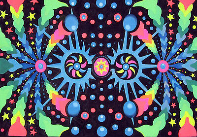 UV Backdrop MADE TO ORDER! psychedelic fractal art /wall hanging fluro DJ poster