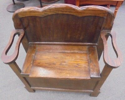 Vintage French Style Solid Oak Dark Wood One Seater Monks Bench  - S87