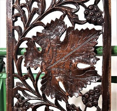 Grapes Lacework Lace Panel Antique French Hand Carved Wood Carving Sculpture 3