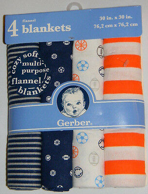 New Gerber Baby Boy Blue Orange Sports Stripes Cotton Flannel Receiving Blankets