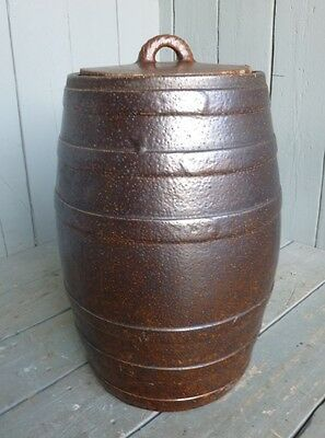 Large Vintage Saltglazed Barrel With Lid - Storage Pot/Planter Bowl - Original
