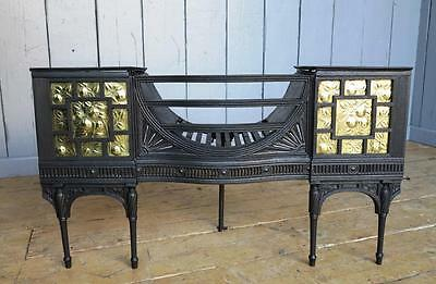 Antique Arts and Crafts Cast Iron & Brass Hob Grate - Fireplace Living Room